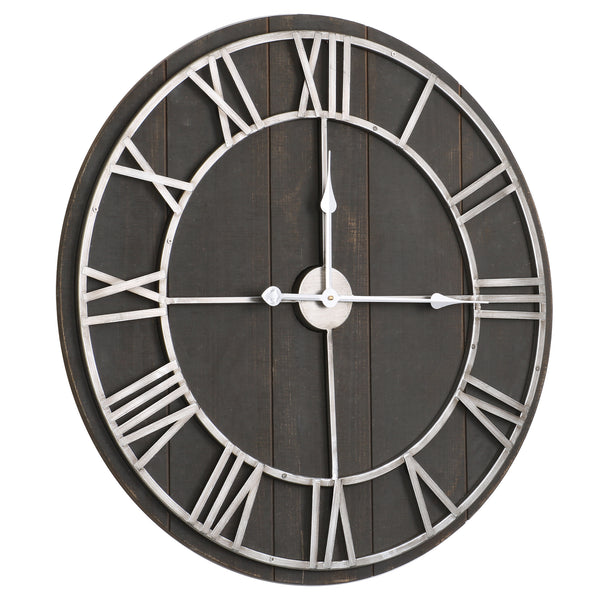 "Loft97 Oversize Roman Round Wall Clock, 28"" Diameter, Dark Wood Finish"