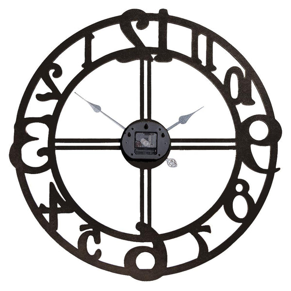 "Loft97 Oversize Roman Round Wall Clock, 28"" Diameter, Multi-Tone Wood Finish"