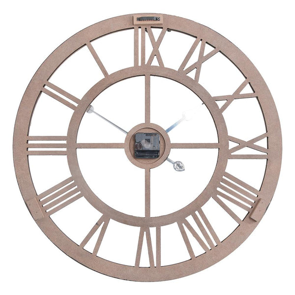 "Loft97 Oversize Roman Round Wall Clock, 24"" Diameter, Multi-Tone Wood Finish"