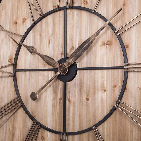 "Loft97 Oversized Roman Square Wall Clock, 47"" Diameter, Wood Finish"
