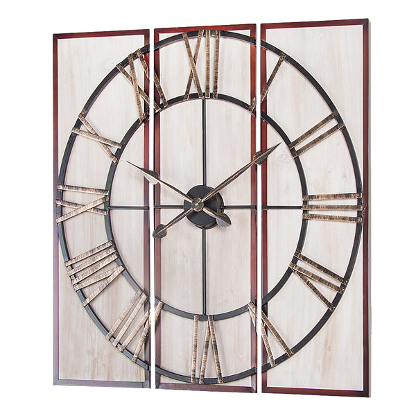 "Loft97 3-Piece Oversize Roman Square Wall Clock, 32"",  Wood Finish"