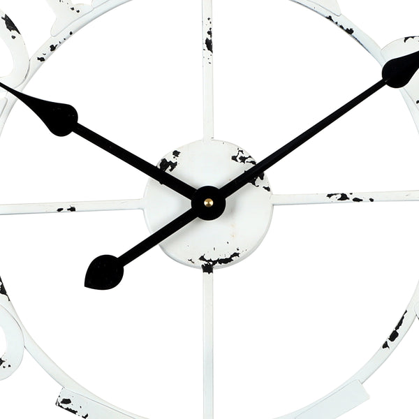 Loft97 Manhattan Industrial Wall Clock, Analog, White, 24""