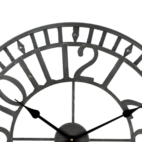 Loft97 Manhattan Industrial Wall Clock, Analog, Black, 24""
