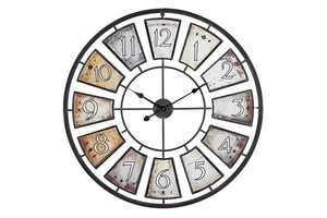 "Loft97 35"" Metal Wall Clock with Black Frame and Colored Panels"