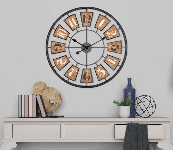 "Loft97 27"" Metal Wall Clockwith Black Frame and Wood Colored Panels"