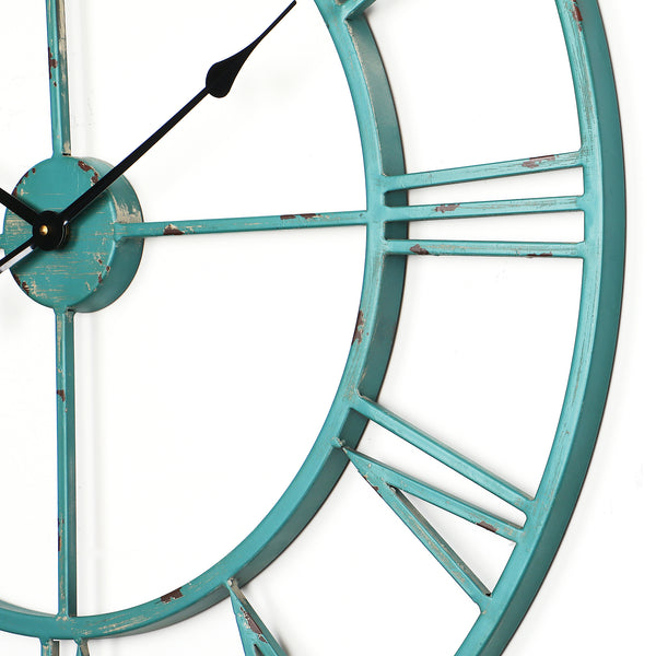 Loft97 Oversized Roman Round Wall Clock, Distressed Sea Green, 30""