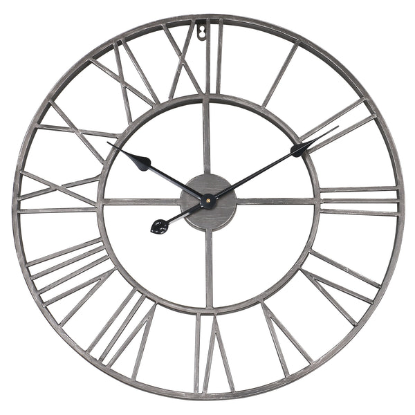 "Loft97 Roman Round Wall Clock, 24"" Diameter, Bronze/Distressed white/Distressed light sea green/Gray/Navy blue/Gold Finish"