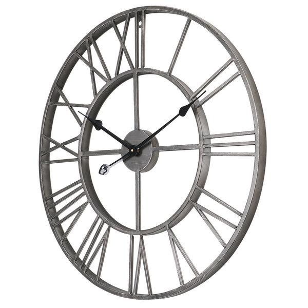 "Loft97 Roman Round Wall Clock, Gray, 24"" Diameter"