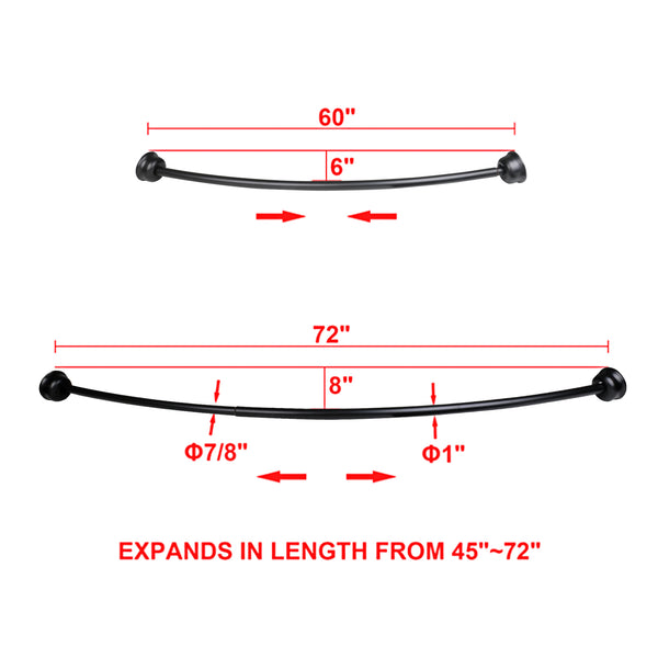 "Loft97 Aluminum Curved Shower Rod, 72"", Matt Black"
