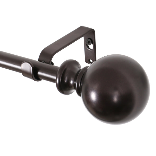"Loft97 Curtain Rod with Round Finials, Adjustable Length 48-86"", Bronze"