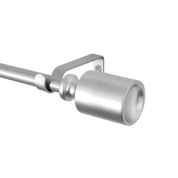 "Loft97 Curtain Rod with Decorative Cap Finial, 28-48"", Nickel"