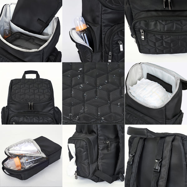 Loft97 Textured Baby Diaper Bag, Waterproof with Changing Mat, Pockets, and Insulated Pouch, Black