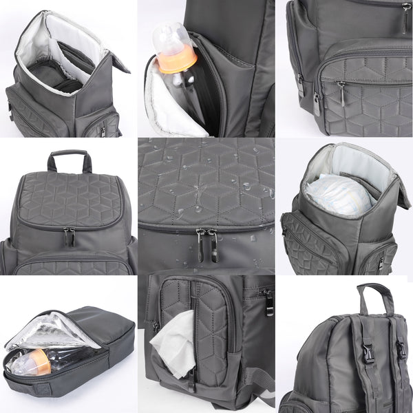 Loft97 Textured Baby Diaper Bag, Waterproof with Changing Mat, Pockets, and Insulated Pouch, Gray