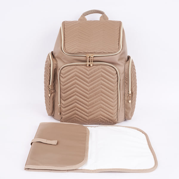 Loft97 Textured Chevron Baby Diaper Bag, Waterproof with Changing Mat, Pockets, and Stroller Straps, Khaki