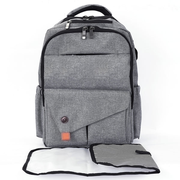 Loft97 Waterproof Baby Diaper Bag with Changing Mat, Pockets, and Stroller Straps, Gray