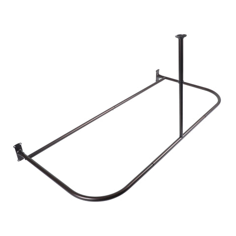Loft97 Rustproof Aluminum D-shape Shower Rod With Ceiling Support for Freestanding Tubs, 60 Inch Large Size by 25 Inch, Oil Rubbled Bronze