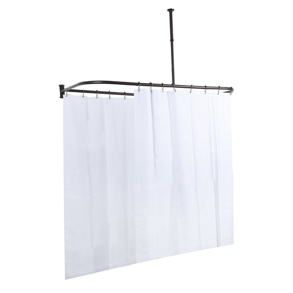 Loft97 Rustproof Aluminum D-shape Shower Rod With Ceiling Support for Freestanding Tubs, 60 Inch Large Size by 25 Inch