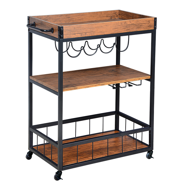 Loft97 Rustic, Industrial Bar Cart with Removable Top Tray and Wine Bottle Holder, Space Saving Design