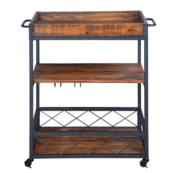 Loft97 Rustic, Industrial Bar Cart with Removable Top Tray, Space Saving Design