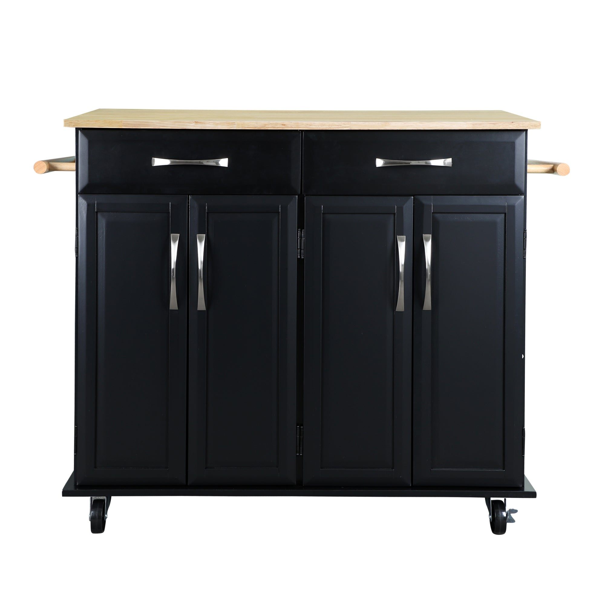 Loft97 Kitchen Cart with Storage Cabinets, Handles, Rolling Kitchen Island, Black