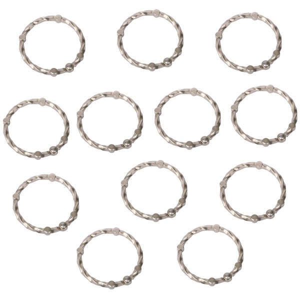 Loft97 Shower Eternity  Curtain Rings, Rustproof Zinc Shower Curtain Rings for Bathroom Shower Rods Curtains - Set of 12