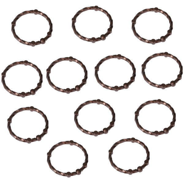 Utopia Alley Shower Eternity  Curtain Rings, Never Rust Rustproof Zinc Shower Curtain Rings for Bathroom Shower Rods Curtains - Set of 12
