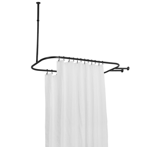Loft97 Rustproof Aluminum Hoop Shower Rod With Ceiling Support for Clawfoot Tub, 54 Inch Extra Large Size by 26 Inch