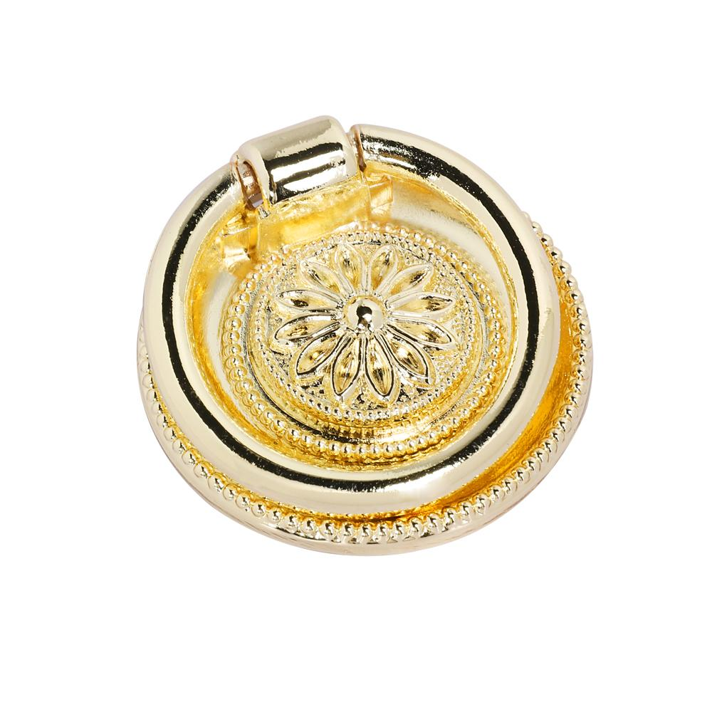 "Loft97 Medici Ring Pull, 1 5/8"" Diameter, Polished Gold"