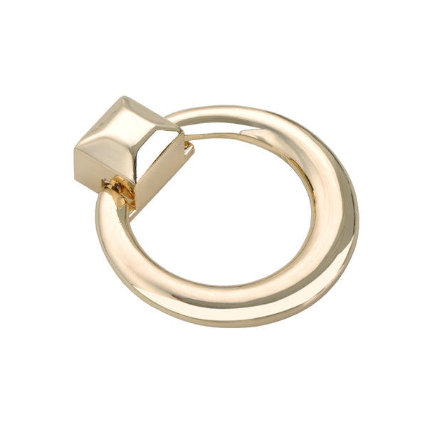 "Loft97 Anello Ring Cabinet Pull, 1.6"" x 1.9"", Polished Gold"