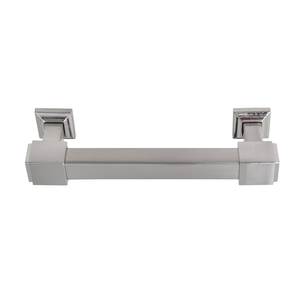 "Loft97 Brett Cabinet Pull, Square Edge, 4"" Center to Center, Brushed Nickel"