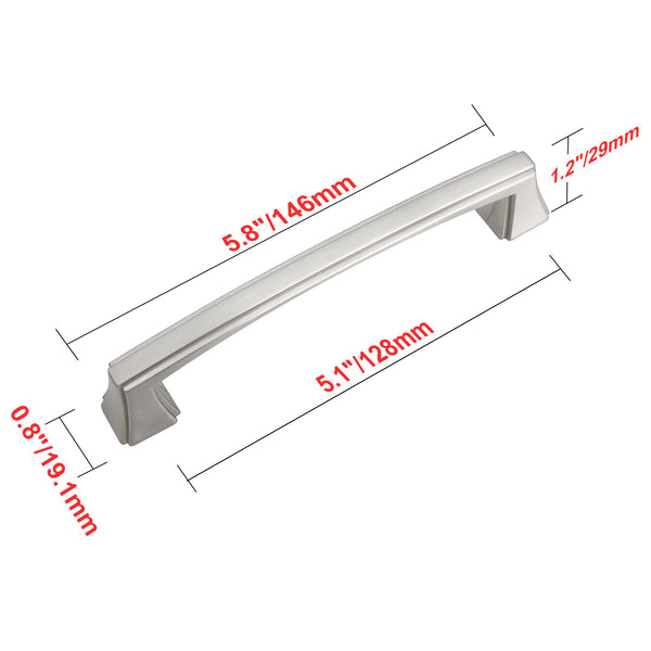 "Loft97 Brett Cabinet Pull, 5"" Center to Center, Brushed Nickel"