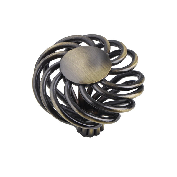 Aire Round Swirl Knob, Antique Brass or Brushed Nickel,  2 Sizes - Loft97 - 1