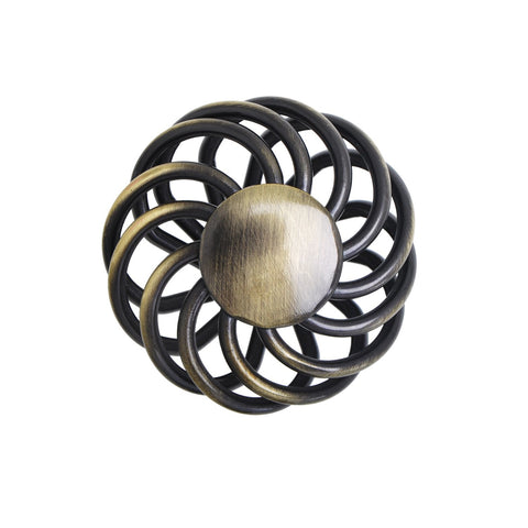 Aire Round Swirl Knob, Antique Brass or Brushed Nickel,  2 Sizes - Loft97 - 3