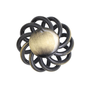 Aire Round Swirl Knob, Antique Brass or Brushed Nickel,  2 Sizes - Loft97 - 4