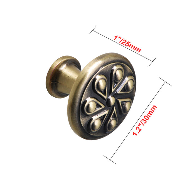 "Loft97 Ciel Cabinet Knob, 1.2"" Diameter, Antique Brass"