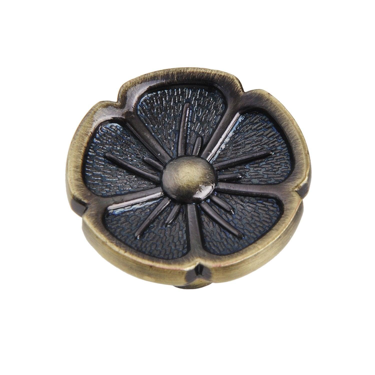 "Bella Antique Brass Flower Cabinet Knob 1.125"" - Loft97 - 1"