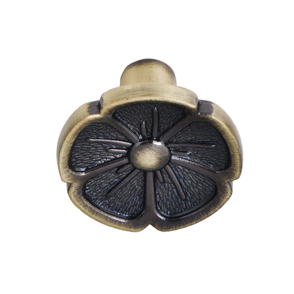 "Bella Antique Brass Flower Cabinet Knob 1.125"" - Loft97 - 3"