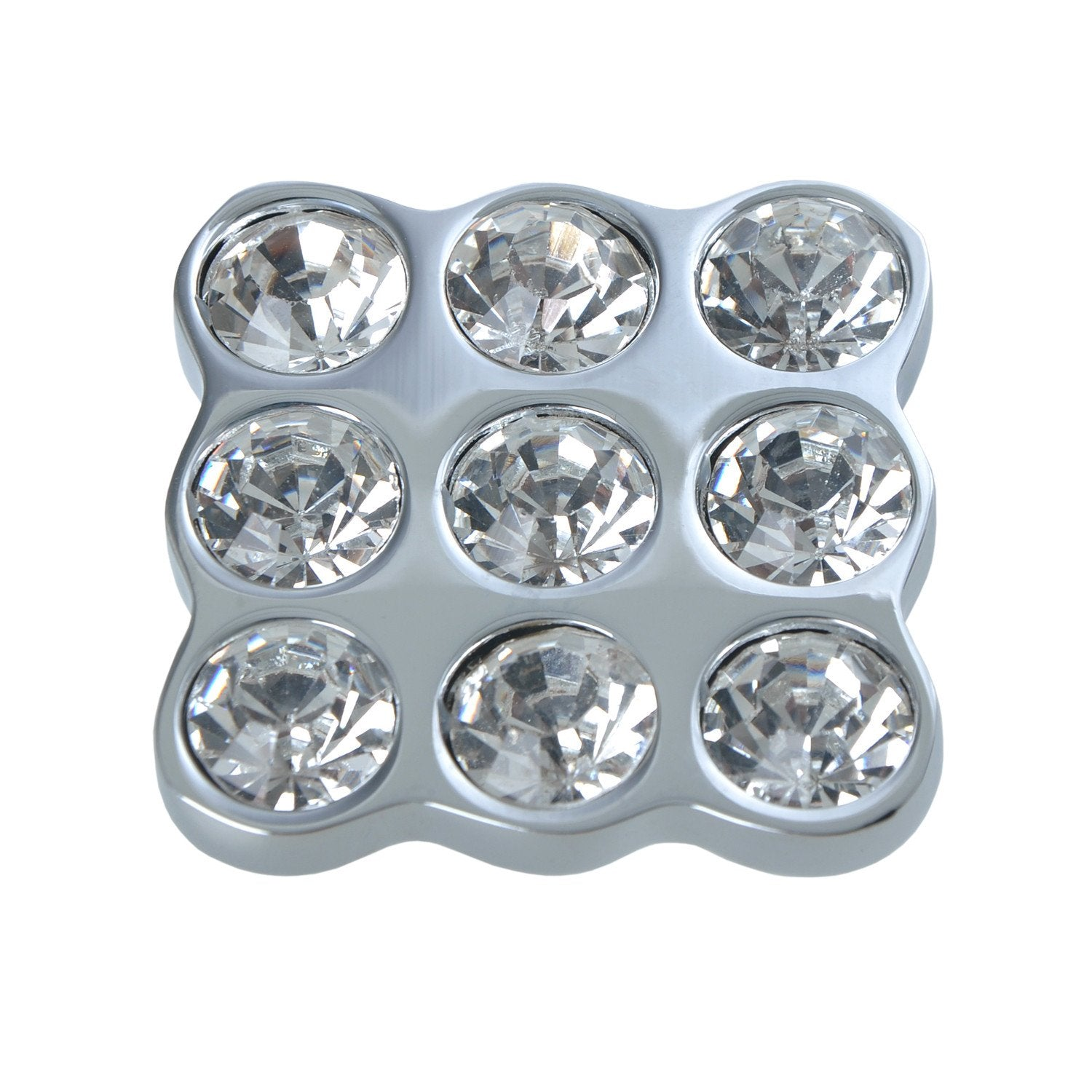 "Gleam Polished Chrome, 9 Crystal Cabinet Knob 1.5"" - Loft97 - 1"
