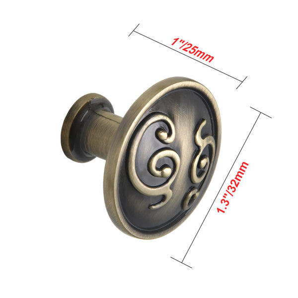 "Loft97 Roma Cabinet Knob, 1.3"" Diameter, Antique Brass"