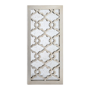 "Loft97 Martique Distressed Finish Wood Decorative Mirror, 31.5"" H, Distressed Silver"