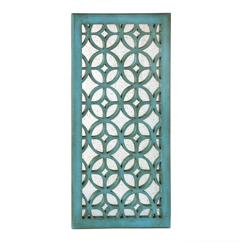 "Loft97 Morocco Distressed Decorative Wood Mirror, 31.5"" Sage Green/White"