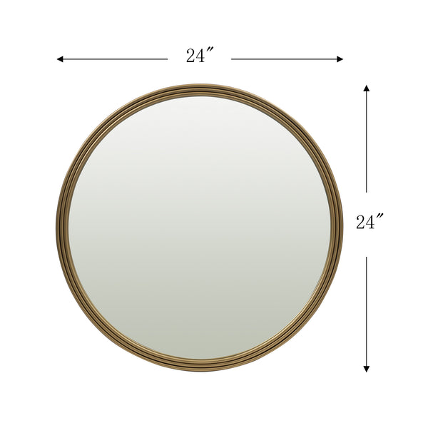 Loft97 Bathroom Round Mirror, Wall-Mounted Bathroom Mirror, 24''Modern Gold Metal Frame, Suitable for Wall Hanging Decoration, Dressing Table, Living Room, Bedroom