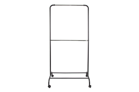 "Loft97 37.5""W 2 Tier Double Bar Garment Rack, Chrome/Black"