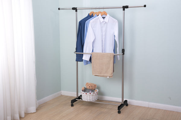 "Loft97 54""W 2 Tier Adjustable Clothes Garment Rack, Chrome"