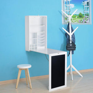 Fold Down Desk Table / Wall Cabinet with Chalkboard, White or Espresso - Loft97 - 12
