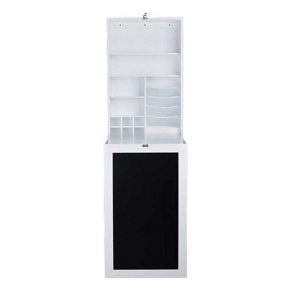 Fold Down Desk Table / Wall Cabinet with Chalkboard, White or Espresso - Loft97 - 13