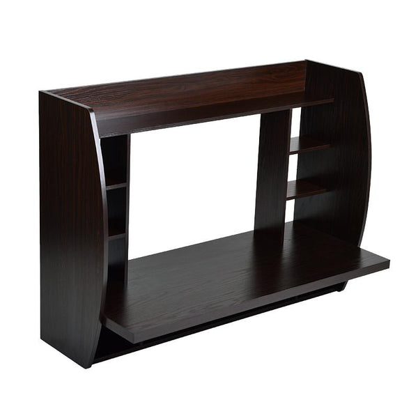 Melamine Floating Wall Mount Desk with Shelving, Storage Nooks, White or Espresso - Loft97 - 11