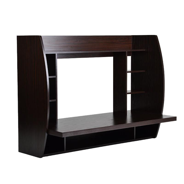 Melamine Floating Wall Mount Desk with Shelving, Storage Nooks, White or Espresso - Loft97 - 2