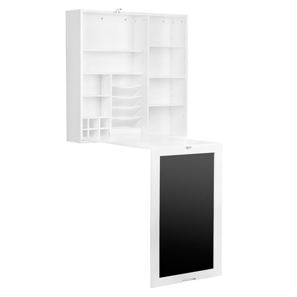 Loft97 Fold Out Wall Mount Desk with Storage Cabinet and Side Shelves, White