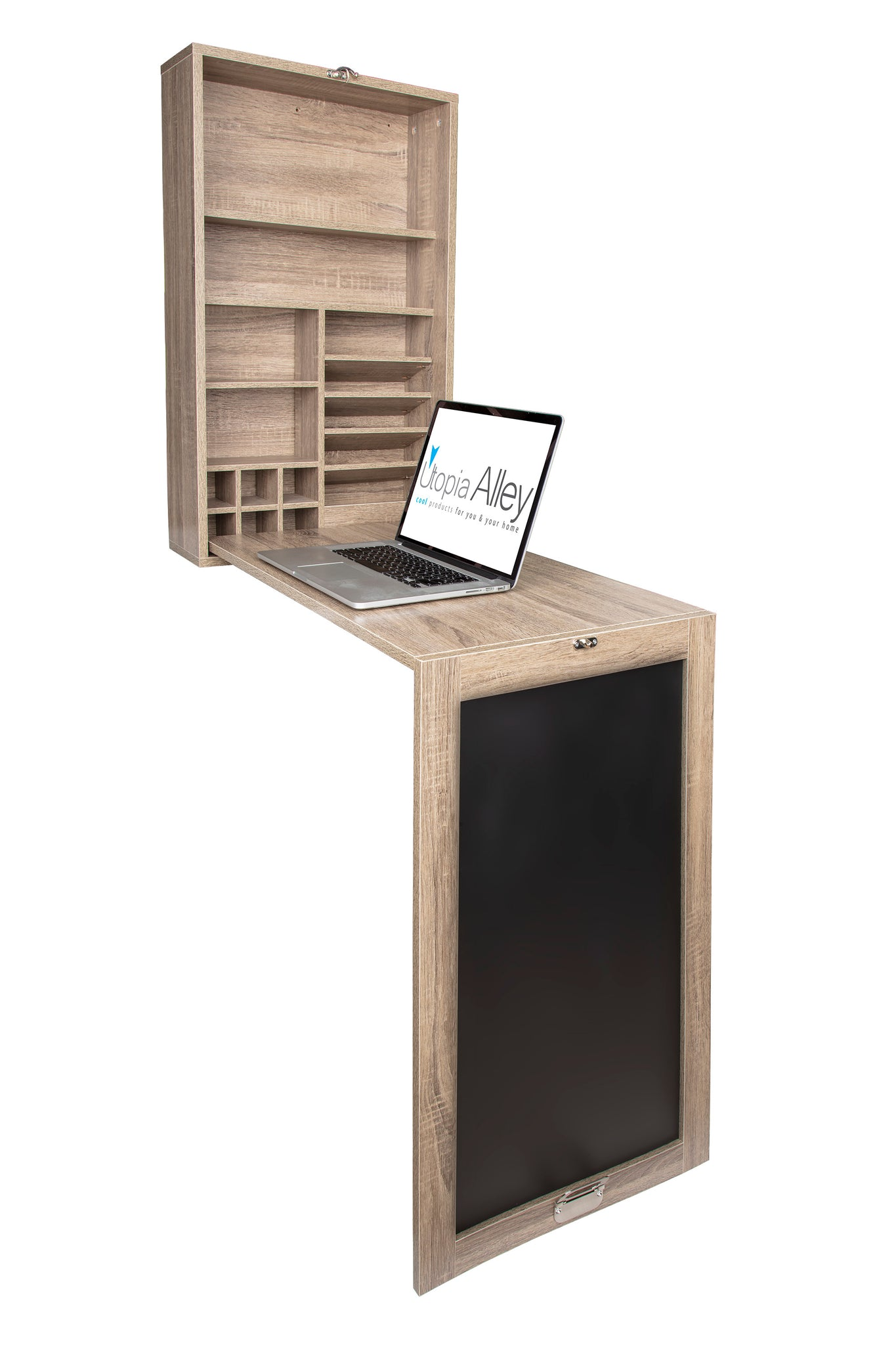 Loft97 Collapsible Fold Down Desk Table/Wall Cabinet with Chalkboard, Multi-Function Computer Desk, Writing Desk Home Office Wood Desk, Black & Gray/Brown weathered oak